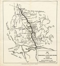 Map from brochure of the Temiskaming & Northern Ontario Railway, 1909, showing the route from North Bay to Cochrane, Ontario