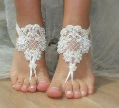 perles ivoire en dentelle de mariée, sandales, libèrent le bateau, : Chaussures par binnur-yildirim