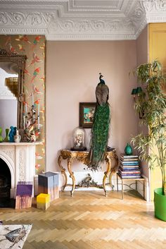 Matthew Williamson's home features in this month's Living Etc magazine with a full article entitled 'bohemian rhapsody'. The interior of this living room is perfectly balanced with contrasting walls, bird features, stacks of books, plants and golden detailed furniture. Click to read more.
