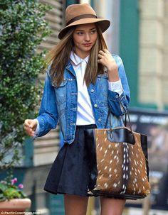 Street Style Miranda Kerr Mini Skirt Studded Denim Jacket Look NYC 2012 Pictures