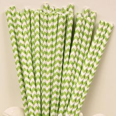 Paper Straws  Set of 25  Chevron  Green by alisamariedesigns, $4.25
