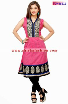 LOVELY PINK COLOR COTTON FABRIC KURTI