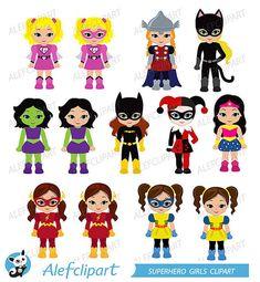 50% OFF Venta Superchicas, superhéroe imágenes prediseñadas chicas paquete superhéroe chicas Supergirl superhéroes imágenes prediseñadas para personal y uso comercial