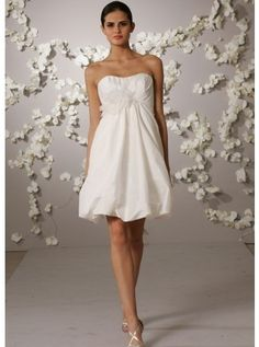 Taffeta Scallop A-line Destination Wedding Dress#Wedding Dress http://www.planetgoldilocks.com/weddingsupplies.htm #fashions #sales