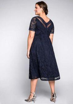 Abendkleid aus floraler Spitze – blau Elegant, The Dress, Cold Shoulder Dress, Short Sleeve Dresses, Dresses For Work, Fashion, Palmas, Rome, Lace