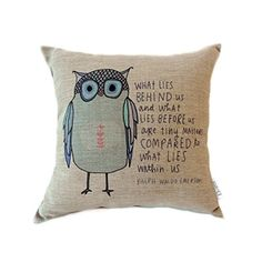 Elviros Linen Cotton Blend Decorative Cushion Cover Throw Pillow Case 18x18 inch - Owl with Words Elviros http://www.amazon.co.uk/dp/B012NA358S/ref=cm_sw_r_pi_dp_Ob0Swb18YXEGH