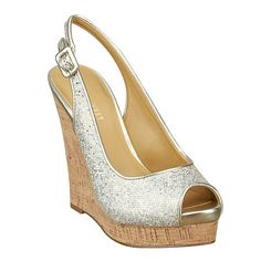 """The must-have peep toe slingback.  5"""" wedge & 1"""" platform. This style is available exclusively @ Nine West Stores & ninewest.com."""