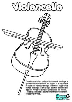 free coloring pages of music instruments cello sketch coloring page
