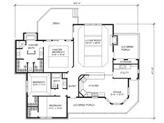 One-story family house plan with open living spaces, porches and decks, 3 bedrooms, 2 baths and 1963 square feet of living space. Unique House Plans, Family House Plans, Country Style House Plans, 2 Bedroom House Plans, House Floor Plans, Floor Plan Layout, One Story Homes, Building Department, Pole Barn Homes