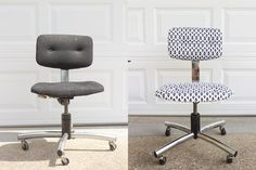 How to makeover a drab, outdated office chair by upholstering with a stylish, modern print fabric and tufting.