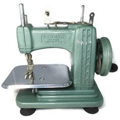 Vintage Toy Sewing Machine - Teal Industrial Miniature, 1950s Betsy Ross Model, Original Instructions, Mini Salesmans Sample by Duckwells on Etsy