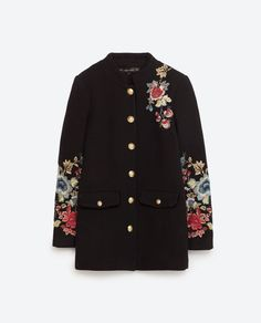 ZARA FLORAL MILITARY-STYLE COAT
