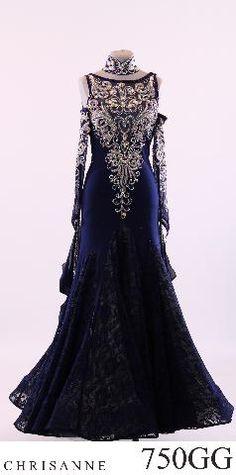 Blue Sliver Black Lace Ballroom Tango Waltz Dance Dress