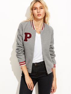 ¡Cómpralo ya!. Heather Grey Baseball Jacket With Letter Patch. Grey Polyester Casual Stand Collar Short Zipper Fall Plain Fabric has no stretch Jackets. , chaquetabomber, bómber, bombers, bomberjacke, chamarrabomber, vestebomber, giubbottobombber, bomber. Chaqueta bomber  de mujer color gris,gris pizarra claro de SheIn.