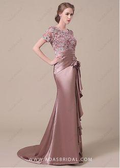 comprar Elegante satén del estiramiento Scoop escote de encaje sirena Madre de los vestidos de novia de descuento en Dressilyme.com