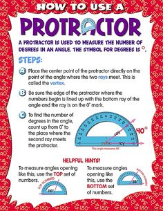 How to Use a Protractor Chart.  Need to put this on my classroom wall!
