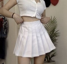 Breeze skirt from Shop TMP - pleated tennis skirt white outfit of the day ootd egirl style fashion stylish girl egirl White Tennis Skirt, White Pleated Skirt, Tennis Skirts, White Skirts, White Outfits, Cool Outfits, Fashion Outfits, Style Fashion, Blue Skirt Outfits