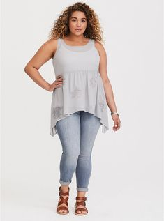 Plus Size Grey Semi-Sheer Chiffon Tank, Plus Size Camisoles, Plus Size Tank Tops, Designer Plus Size Clothing, Plus Size Pregnancy, Lace Inset, Sheer Chiffon, Sequin Top, Plus Size Outfits, Fitness Models