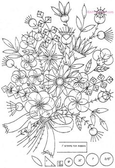 Free Printable Hand Embroidery Designs | Free Embroidery Pattern: Felt Appliqué Bouquet c1930