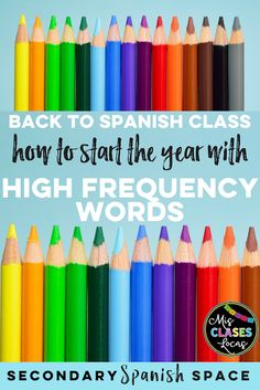 Back to Spanish Class: How to start the year with High Frequency Words - Mis Clases Locas shared on Secondary Spanish Space Learn Spanish Free, Learn Spanish Online, Spanish 1, Spanish Pictures, Spanish Alphabet, Spanish Teacher, Spanish Classroom, Teaching Spanish, Classroom Ideas