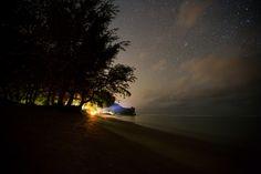 Anini beach at night, Kauai