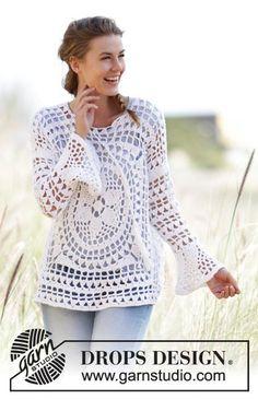 Free knitting patterns and crochet patterns by DROPS Design Pull Crochet, Crochet Diy, Crochet Shirt, Crochet Jacket, Crochet Woman, Crochet Cardigan, Crochet Tops, Crochet Sweaters, Tunisian Crochet