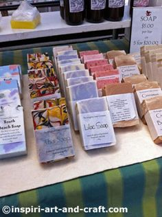 Colorful soap booth photos at http://www.inspiri-art-and-craft.com/soap-displays.html