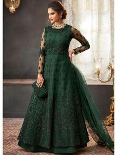 Get Majestic Green Color Net Designer Anarkali Suit latest designer party wear salwar suits, wedding wear anarkali dress for women at VJV Fashions. Robe Anarkali, Costumes Anarkali, Anarkali Suits, Abaya Style, Designer Anarkali, Priyanka Chopra, Kareena Kapoor, Indian Dresses, Indian Outfits