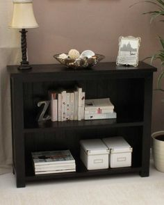 Dark Wood Low Bookcase This finely crafted modern low bookcase with two  shelves is part of