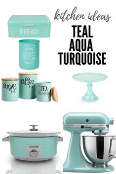 kitchen ideas in teal aqua turquoise. I'm excited to share 15 pretty turquoise kitchen items that are not only useful, but will also look great in your kitchen. There is nothing like a pop of turquoise to brighten up a space! Turquoise Kitchen Decor, Aqua Kitchen, New Kitchen, Aqua Decor, Kitchen Reno, Teal Kitchen Curtains, Turquoise Decorations, Coastal Curtains, Retro Kitchen Decor