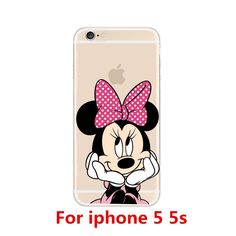 New fashion Cute Mickey Mouse Hard Cover Case For apple iPhone 5 5S 5C 6 6S 6 plus 6S Plus Mickey and Minnie Transparent Cases