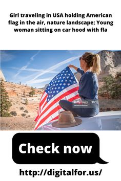 Girl traveling in USA holding American flag in the air, nature landscape; Young woman sitting on car hood with flag Young Women, American Flag, Hold On, Travelling, Relationship, Landscape, Woman, Usa, Nature