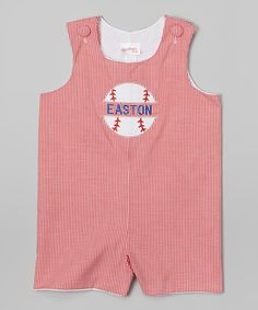 Red Gingham Baseball Personalized Shortalls - Infant & Toddler by Lollypop Kids Clothing #zulily #zulilyfinds