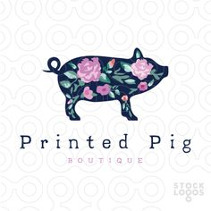 Logo Sold: This modern pig vintage logo design is fun and retro.