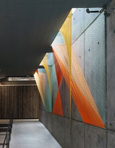 """Inés Esnal, Prism, 2012, On-site Installation, Mesh of coloured elastic cords within structure / 26'-9""""x 7'-9""""x 2'-0"""""""