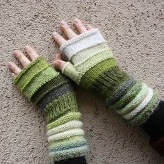 Lichen Striped Hand Knit Fingerless Gloves with door WrapturebyInese