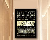 Large Typography Art Canvas of Bucharest, Romania - Subway Roll Art 24X30 - Bucharest's Attractions Wall Art Decoration -  LHA-236