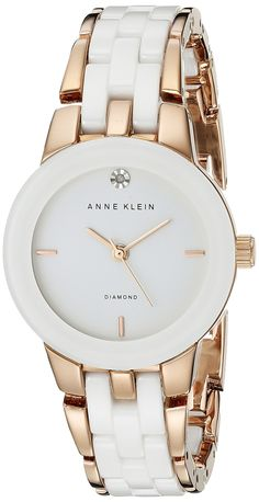 Anne Klein Women's Diamond Dial Rose Gold-Tone and White Ceramic Bracelet Watch -- You can find out more details at the link of the image. Stylish Watches, Luxury Watches, Watches For Men, Jewelry Clasps, Jewelry Watches, Anne Klein Watch, Beautiful Watches, Fashion Watches, Bracelet Watch