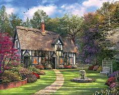 "Hideaway Cottage.  Artist: Dominic Davison : 550 piece jigsaw puzzle: Item 979: Finished size 18"" X 24""  $12.95"
