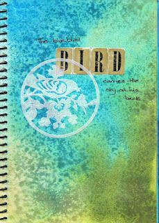 """JOURNAL - """"BLUEBIRD""""    I LOVE USING ROCK SALT AND INK TO CREATE THIS LOOK!"""