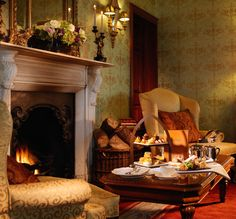 Afternoon Tea by the fireside at Glenlo Abbey Hotel Galway.   5 Star Hotel set on 138 acre estate in Galway, West of Ireland.   http://www.glenloabbeyhotel.ie/en/afternoon-tea-glenlo-galway/