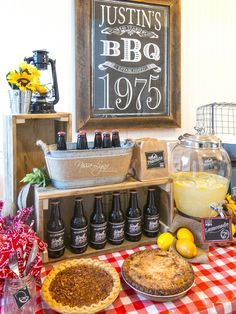 Rustic Birthday Party for the Hubs Rustic, Country, BBQ Birthday Party by Nissa-Lynn Interiors 40th Birthday Celebration Ideas, Rustic Birthday Parties, Country Birthday, Birthday Bbq, Backyard Birthday, Adult Birthday Party, Backyard Bbq, Mens 40th Birthday Ideas, Husband Birthday