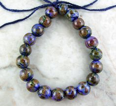 Handmade Lampwork Glass Round Bead Set by All My Beads Blues Always Have It