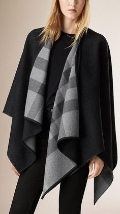 Charcoal check Check-Lined Wool Poncho