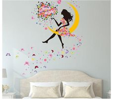 Wall sticker home decor butterfly sticker Bicycle and lovely girs sticker for home decor For Kids Rooms