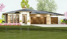 Prairie Style House Plan Ideal for a Gently Sloping Lot - 64424SC - 04
