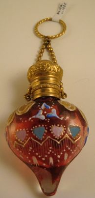 *Antique red colored glass perfume bottle /chatelaine