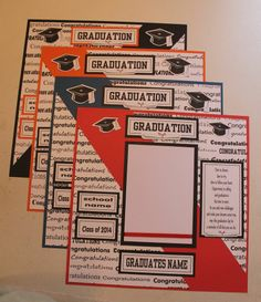 PICK 1  Pre made 12 x 12 PERSONALIZED FOR YOU - GRADUATION scrapbook page Graduation Album, Graduation Scrapbook, Graduation Gifts, Scrapbook Templates, Scrapbook Sketches, Scrapbook Cards, School Scrapbook Layouts, Scrapbooking Layouts, Smash Book Pages