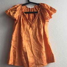 3.1 Phillip Lim orange silk top SZ 0 Orange silk flutter sleeve top 3.1 Phillip Lim Tops Blouses