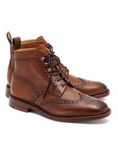 Pebble Wingtip Boots Dark Brown
